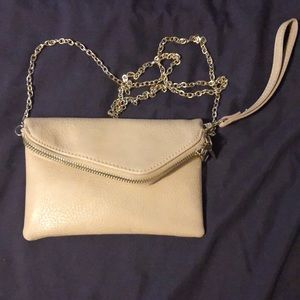Vegan leather beige clutch/crossbody purse